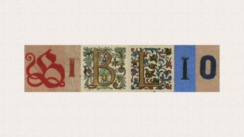 Kolaż inicjałów gazetowych składających się w napis Biblio